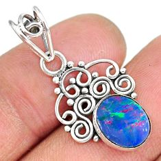 2.34cts natural blue doublet opal australian 925 sterling silver pendant r90145