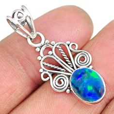 2.40cts natural blue doublet opal australian 925 sterling silver pendant r90146