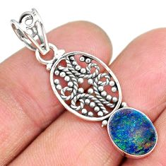 2.56cts natural blue doublet opal australian 925 sterling silver pendant r90147