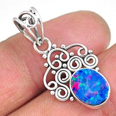 2.39cts natural blue doublet opal australian 925 sterling silver pendant r90148