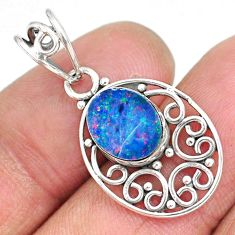 2.54cts natural blue doublet opal australian 925 sterling silver pendant r90152