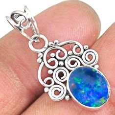 2.66cts natural blue doublet opal australian 925 sterling silver pendant r90157