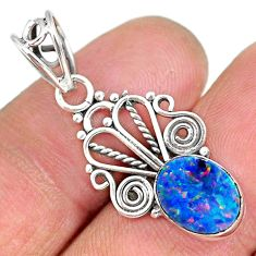 2.57cts natural blue doublet opal australian 925 sterling silver pendant r90158