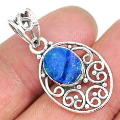2.67cts natural blue doublet opal australian 925 sterling silver pendant r90159
