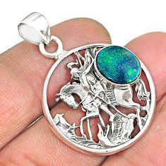 3.66cts natural blue doublet opal australian 925 sterling silver pendant r90335