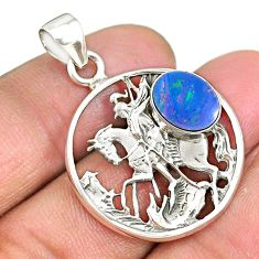 3.42cts natural blue doublet opal australian 925 sterling silver pendant r90384