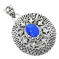 2.35cts natural blue doublet opal australian 925 sterling silver pendant t32541
