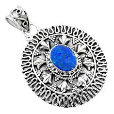 2.28cts natural blue doublet opal australian 925 sterling silver pendant t32542