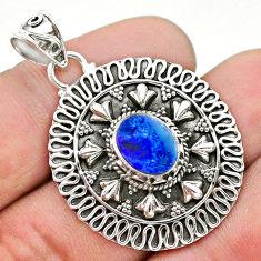1.81cts natural blue doublet opal australian 925 sterling silver pendant t32570