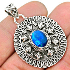 2.26cts natural blue doublet opal australian 925 sterling silver pendant t32571