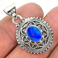 2.06cts natural blue doublet opal australian 925 sterling silver pendant t32628