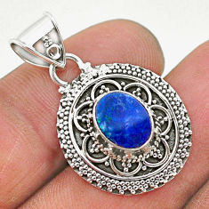 1.70cts natural blue doublet opal australian 925 sterling silver pendant t32661