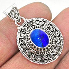 1.73cts natural blue doublet opal australian 925 sterling silver pendant t32662