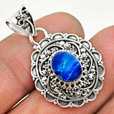 1.69cts natural blue doublet opal australian 925 sterling silver pendant t32663