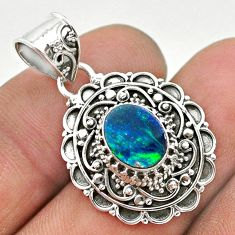 1.74cts natural blue doublet opal australian 925 sterling silver pendant t32665
