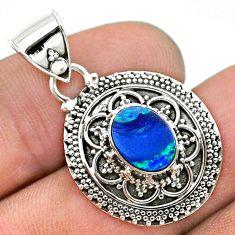 1.67cts natural blue doublet opal australian 925 sterling silver pendant t32673