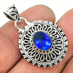 1.65cts natural blue doublet opal australian 925 sterling silver pendant t32679