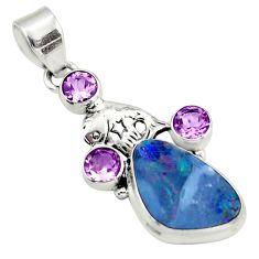 8.14cts natural blue doublet opal australian amethyst 925 silver pendant d45862