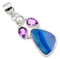 12.01cts natural blue doublet opal australian amethyst 925 silver pendant r44601