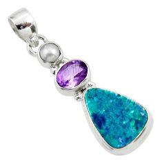 11.13cts natural blue doublet opal australian amethyst 925 silver pendant r44602