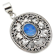 3.31cts natural blue doublet opal australian oval 925 silver pendant r47047