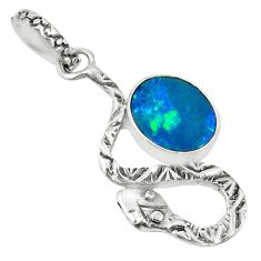 2.68cts natural blue doublet opal australian oval silver snake pendant r78525