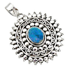3.53cts natural blue doublet opal australian oval sterling silver pendant r47027