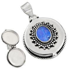 3.31cts natural blue doublet opal australian silver poison box pendant r30671