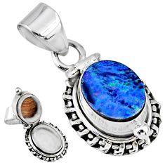 4.02cts natural blue doublet opal australian silver poison box pendant r55648