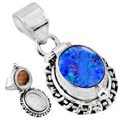 3.90cts natural blue doublet opal australian silver poison box pendant r55649