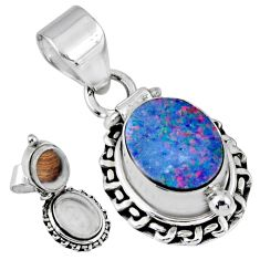 4.02cts natural blue doublet opal australian silver poison box pendant r55650