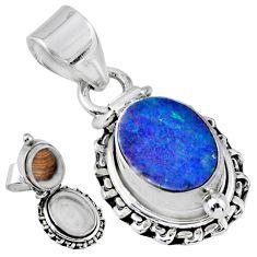 3.85cts natural blue doublet opal australian silver poison box pendant r55652