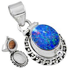 4.02cts natural blue doublet opal australian silver poison box pendant r55653