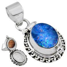 4.02cts natural blue doublet opal australian silver poison box pendant r55654