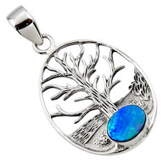 2.44cts natural blue doublet opal australian silver tree of life pendant r48367