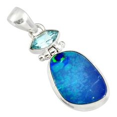 11.66cts natural blue doublet opal australian topaz 925 silver pendant r19595