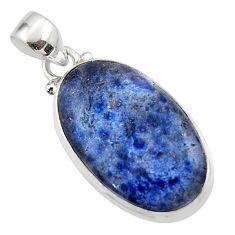 13.73cts natural blue dumorite (dumortierite) 925 sterling silver pendant r46577