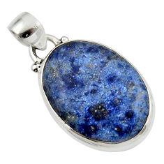 13.65cts natural blue dumorite (dumortierite) 925 sterling silver pendant r46605
