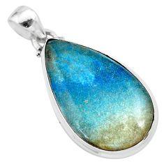 18.70cts natural blue dumorite (dumortierite) 925 sterling silver pendant t28632