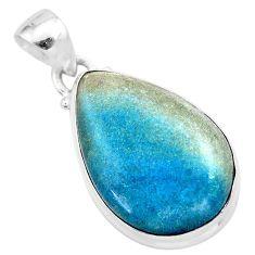 16.62cts natural blue dumorite (dumortierite) 925 sterling silver pendant t28633