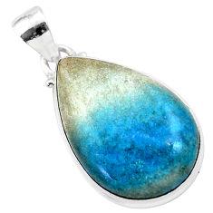 18.17cts natural blue dumorite (dumortierite) 925 sterling silver pendant t28634