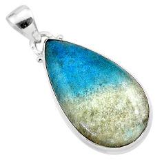 18.15cts natural blue dumorite (dumortierite) 925 sterling silver pendant t28637