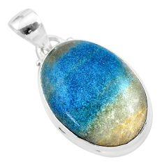 16.68cts natural blue dumorite (dumortierite) 925 sterling silver pendant t28639