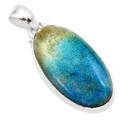 19.72cts natural blue dumorite (dumortierite) 925 sterling silver pendant t28641