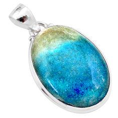 18.68cts natural blue dumorite (dumortierite) 925 sterling silver pendant t28644