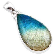 19.20cts natural blue dumorite (dumortierite) 925 sterling silver pendant t28647
