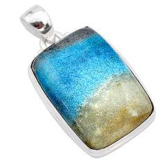 25.00cts natural blue dumorite (dumortierite) 925 sterling silver pendant t28649