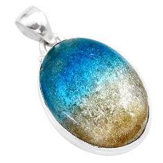 18.68cts natural blue dumorite (dumortierite) 925 sterling silver pendant t28652