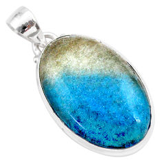 18.10cts natural blue dumorite (dumortierite) 925 sterling silver pendant t28654
