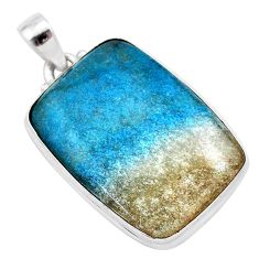 27.08cts natural blue dumorite (dumortierite) 925 sterling silver pendant t28655